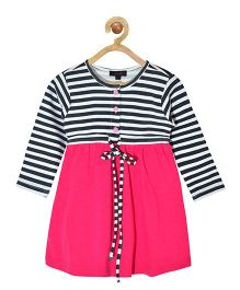 Pspeaches Striped Bodice Dress - Pink