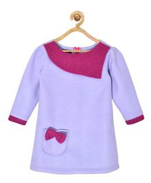 Pspeaches Fleece Dress With Bow Design - Purple