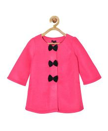 Pspeaches Fleece Dress With Tiny Bows At Front - Magenta