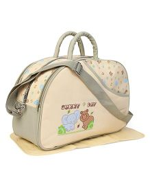 Diaper Bag With Changing Mat Flower Print - Cream