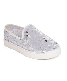 One Friday Party Wear Sequined Shoes - Silver