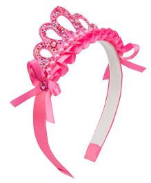 Daizy Hair Band With Crown - Hot Pink