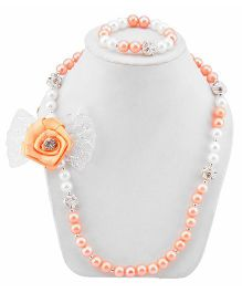 Daizy Adorable Bow Necklace & Bracelet Set - Peach & White
