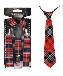 Tiekart Suspenders & Tie Impression Combo - Red & Black