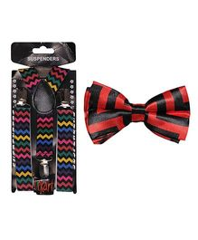 Tiekart Red Suspenders Bow Tie Check Combo - Red