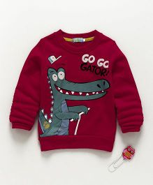 Lolly Kids Dinosaur Print Full Sleeves Tee - Maroon