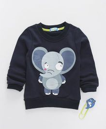 Lolly Kids Elephant Print Crew Neck Tee - Navy