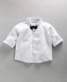 Babyoye Full Sleeves Shirt With Bow - White