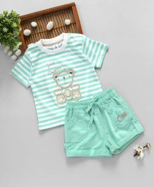 ToffyHouse Half Sleeves T-Shirt With Shorts Bear Patch - Green