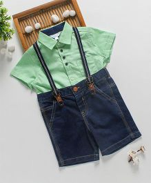 ToffyHouse Half Sleeves Shirt & Denim Shorts With Suspenders - Green Blue