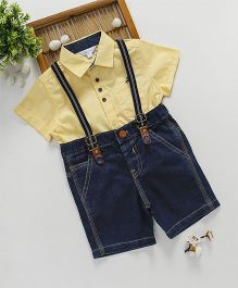 ToffyHouse Half Sleeves Shirt & Denim Shorts With Suspenders - Yellow Blue