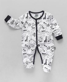 Mini Taurus Full Sleeves Footed Romper Animal Print - Black & White