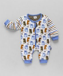 Mini Taurus Full Sleeves Romper Kitty Print - Blue & White