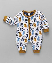 Mini Taurus Full Sleeves Romper Kitty Print - Mustard Yellow & White