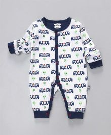 Mini Taurus Full Sleeves Romper Elephant Print - Navy & White