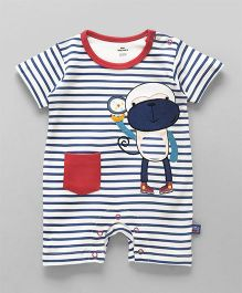 Mini Taurus Half Sleeves Striped Romper Monkey Print - Blue Red