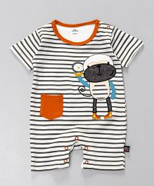 Mini Taurus Half Sleeves Striped Romper Monkey Print - Grey Orange