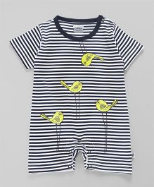 Mini Taurus Half Sleeves Romper Stripes Print - Navy