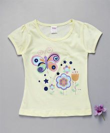 Tango Short Sleeves Top Butterfly And Floral Print - Light Yellow