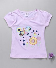 Tango Short Sleeves Top Butterfly And Floral Print - Light Purple