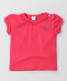 ToffyHouse Short Sleeves Top Horse Embroidery - Pink