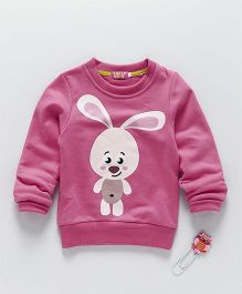 Lolly Kids Rabbit Print Crew Neck Tee - Pink
