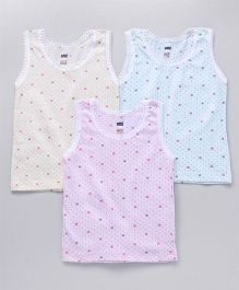 Simply Sleeveless Slips Heart Print Pack of 3 - Pink Yellow Blue
