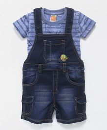 Little Kangaroos Dungarees Style Romper With T-Shirt Dino Print - Dark Blue