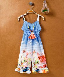 Little Kangaroos Singlet Jumpsuit With Beaded Necklace - Blue