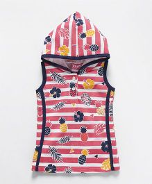 Little Kangaroos Sleeveless Hooded Frock Pineapple Print - Pink