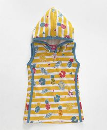 Little Kangaroos Sleeveless Hooded Frock Pineapple Print - Yellow