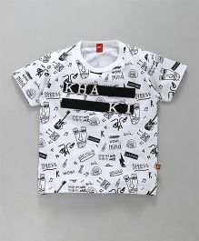 Wow Clothes Half Sleeves Printed T-Shirt - White