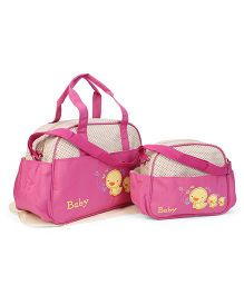 Diaper Bag With Changing Mat Duck Patch 3 Piece - Dark Pink