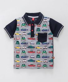 Wow Clothes Half Sleeves Collar Neck T-Shirt Car Print - Grey