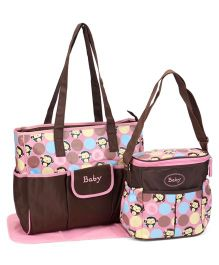 Diaper Bag With Changing Mat Monkey Print Brown Pink - 3 Piece Set