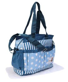 Diaper Bag With Changing Mat Dot & Stripe Print - Blue