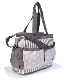 Diaper Bag With Changing Mat Dot & Stripe Print - Grey