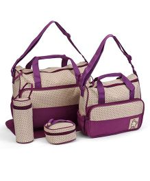 Diaper Bags With Changing Mat Pack of 4- Purple Beige