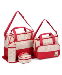 Diaper Bag Set Dot Print Red - Pack of 5