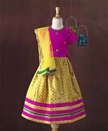Saka Designs Sleeveless Choli Lehenga With Dupatta - Magenta Yellow