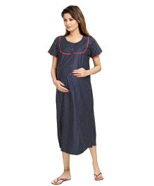 Piu Short Sleeves Maternity Nursing Nighty - Blue