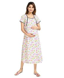 Piu Short Sleeves Maternity & Feeding Nighty Cartoon Print - Pink