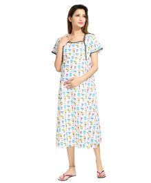 Piu Short Sleeves Maternity & Feeding Nighty Cartoon Print - Blue