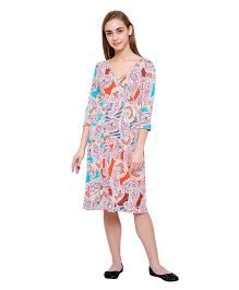 Tiara Maternity Three-Fourth Sleeve Dress - Multicolor