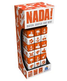 Blue Orange Nada Dice Game - Orange White