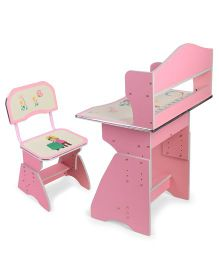 Kids Study Table With Chair Alphabet & Girl Print - Pink