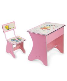 Kids Study Table With Chair Horse Print - Pink