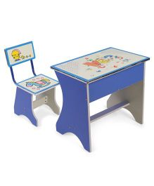 Kids Study Table With Chair Horse Print - Blue