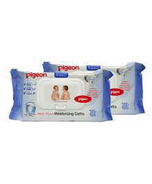 Pigeon Baby Wiped Moisturising Cloths Pack Of 2 - 70 Wipes Each