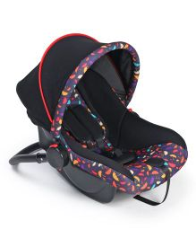 Rear Facing Car Seat Cum Carry Cot Umbrella Print - Purple Black